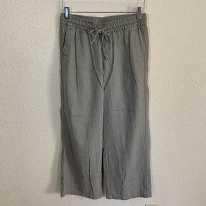 Linen wide-leg ankle pants